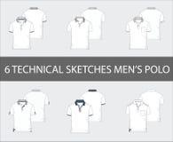 Tekniskt skissar uppsättningen av muffen Polo Shirts för kortslutningen för man` s royaltyfri illustrationer