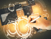 Teknologi-, analytics- och kommunikationsbegrepp Arkivfoton