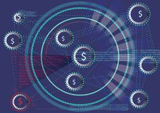 Teknologi av att blockera i nationalekonomi och finans Arkivfoton