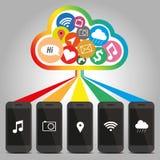 Teknologi av den smarta telefonen med molnbegrepp Royaltyfria Bilder