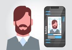 Teknologi för erkännande för framsida för begrepp för ID för smart för telefonsäkerhetssystem användare för scanning manlig Biome royaltyfri illustrationer