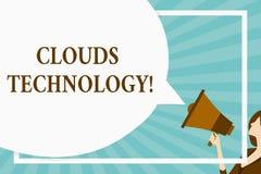 Teknologi för handskrifttextmoln Begrepp som betyder resurser aretrieved från internet till och med webbased enormt mellanrum stock illustrationer
