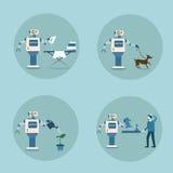 Teknologi för hushållning för mekanism för konstgjord intelligens för modern robotsymbolsuppsättning futuristisk stock illustrationer