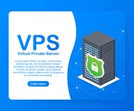 Teknologi för infrastruktur för varande värd service för rengöringsduk för faktisk privat server för VPS också vektor för coreldr stock illustrationer
