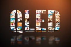 Teknologi för innovation för skärm för tv för QLED-kvantprick Fotografering för Bildbyråer