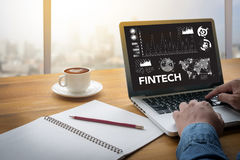Teknologi för internet för FINTECH-investering finansiell royaltyfri fotografi