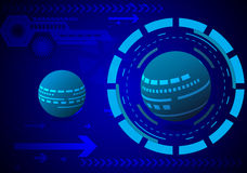 Teknologi för jordcirkelabstrakt begrepp på mörker - blå bakgrundsvektor Stock Illustrationer