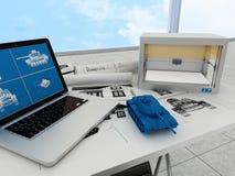 teknologi för printing 3d, printingbehållare Royaltyfria Foton