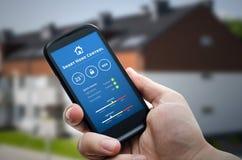 Teknologi för Smart hemkontroll Avlägset automationsystem på mobil Royaltyfria Bilder