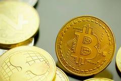 Teknologi för valuta för mynt BTC Bitcoin Cryptocurrency för Digital bit arkivbilder