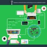 Teknologi för vektoraffärskommunikationer till den världsomspännande marknaden Royaltyfria Foton