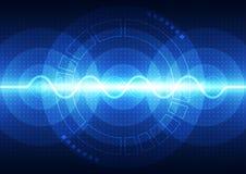 Teknologi för solid våg för vektor digital, abstrakt bakgrund Arkivfoto