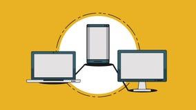 Teknologi HD för elektroniska apparater stock illustrationer