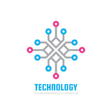 Teknologi - illustration för begrepp för vektorlogomall Idérikt tecken för beräkningsnätverk Elektroniskt digitalt chipsymbol stock illustrationer