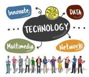 Teknologi inför nyheter diagrammet Concep för ord för multimedia för datanätverket arkivfoton