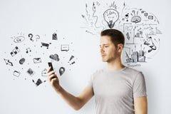 Teknologi-, kommunikations- och planbegrepp arkivfoton