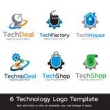 Teknologi Logo Template Design Vector Royaltyfri Illustrationer