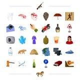 Teknologi, medicin, loppet och annan rengöringsduksymbol i tecknad film utformar transport historia, alkoholsymboler i uppsättnin stock illustrationer