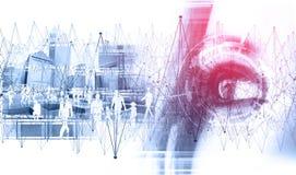 Teknologi och affärsidé Nätverk och global kommunikation Arkivbild