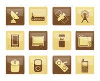 Teknologi- och kommunikationssymboler över brun bakgrund royaltyfri illustrationer
