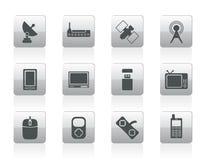Teknologi- och kommunikationssymboler stock illustrationer