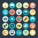 Teknologi och kulöra vektorsymboler 4 för maskinvara Arkivbilder