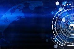 Teknologi och världsomspännande anslutningsbakgrundsbegrepp i blå t royaltyfria bilder