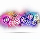 Teknologi utrustar flerfärgad bakgrund Arkivfoto
