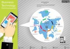Teknologiaffärskommunikation över för idé- och begreppsvektor för värld den moderna Infographic för illustration mallen med symbo Royaltyfri Bild