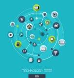 Teknologianslutningsbegrepp Abstrakt bakgrund med inbyggda cirklar och symboler för digitalt, internet, nätverk Fotografering för Bildbyråer