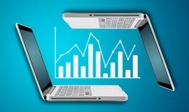 Teknologibärbar datordator med diagrammet för graffinansforex Arkivbilder
