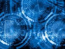 Teknologibakgrundsbegrepp Abstrakt blåttbakgrund double royaltyfri bild
