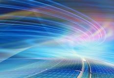 Teknologibakgrundsillustrationen, abstrakt begrepp rusar Arkivbild
