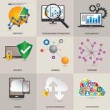 Teknologibegreppssymboler stock illustrationer