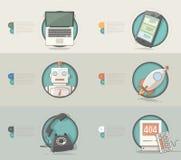 Teknologibegreppssymboler för affärsföretag stock illustrationer