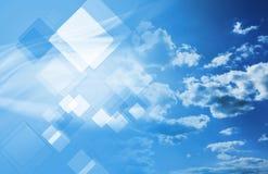 Teknologicollage med cloudscape Arkivfoton