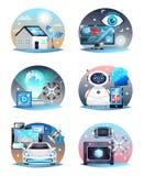 Teknologier av den framtida sammansättningsuppsättningen royaltyfri illustrationer
