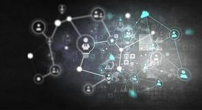 Teknologier för anslutning Blandat massmedia Arkivfoto