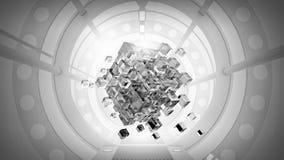 teknologier för futuristic flicka för begrepp för binär kod gräver lysande Blandat massmedia Royaltyfria Foton
