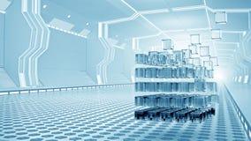 teknologier för futuristic flicka för begrepp för binär kod gräver lysande Blandat massmedia Arkivbild