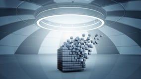 teknologier för futuristic flicka för begrepp för binär kod gräver lysande Blandat massmedia Royaltyfri Bild