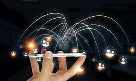 Teknologier för global kommunikation Arkivfoto