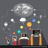 Teknologier för vektoraffärskommunikationer över hela världen Arkivbilder