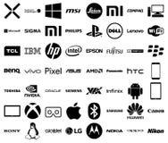 Teknologiföretagslogoer stock illustrationer