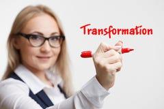 Teknologiinternetaffär och marknadsföring Ungt ord för handstil för affärskvinna: omformning Fotografering för Bildbyråer