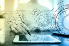 Teknologimanöverenhetsbakgrund med kugghjulutkastet Teknik-, affärs-, utvecklings- och kommunikationsbegrepp royaltyfri foto