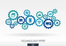 Teknologimekanismbegrepp Abstrakt bakgrund med inbyggda kugghjul och symboler för digitalt, internet, nätverk Royaltyfria Foton