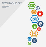 Teknologimekanismbegrepp Abstrakt bakgrund med inbyggda kugghjul och symboler för digitalt, strategi, internet Arkivbild