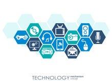 Teknologimekanismbegrepp Abstrakt bakgrund med inbyggda kugghjul och symboler för digitalt, strategi, internet Vektor Illustrationer