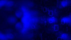 Teknologimörker - blå bakgrund, abstrakt binär kod Arkivfoto